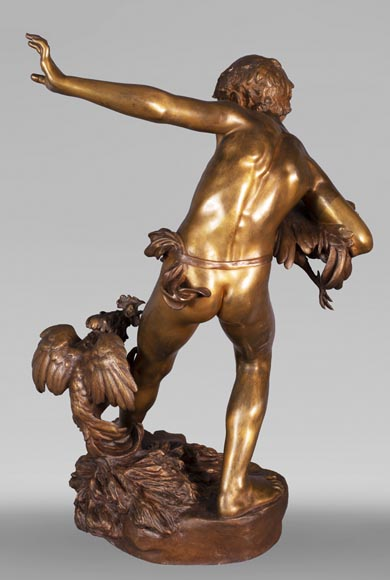 aul Romain CHEVRÉ (1866-1914) - Le combat de coqs, bronze with golden patina-9