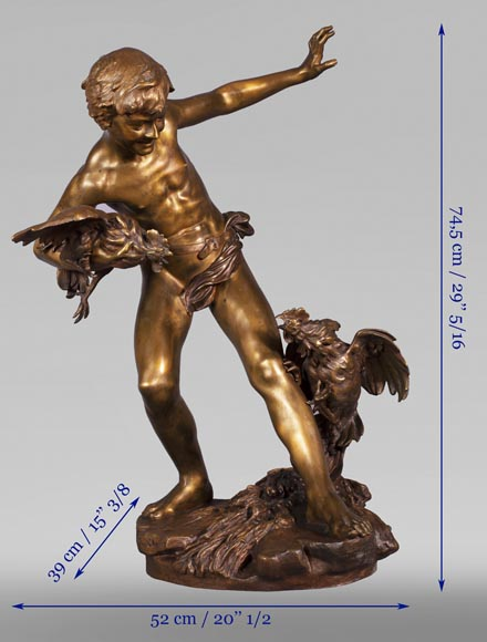 aul Romain CHEVRÉ (1866-1914) - Le combat de coqs, bronze with golden patina-12