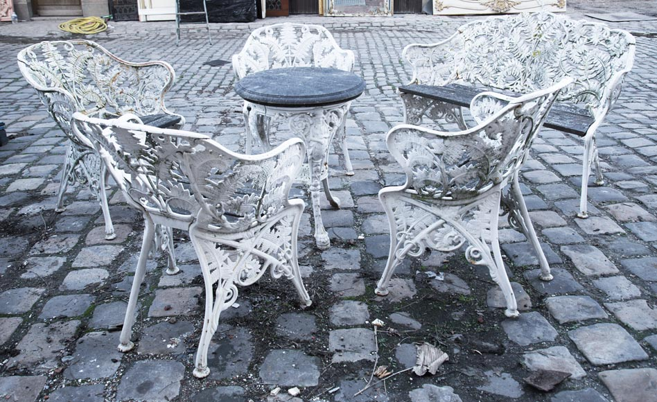 Antique garden furniture, made of cast iron with plant decoration-0