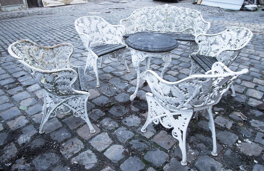 Antique garden furniture, made of cast iron with plant decoration-1