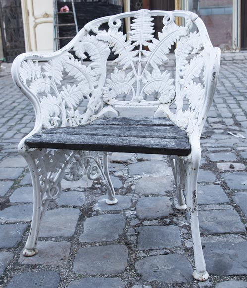 Antique garden furniture, made of cast iron with plant decoration-2