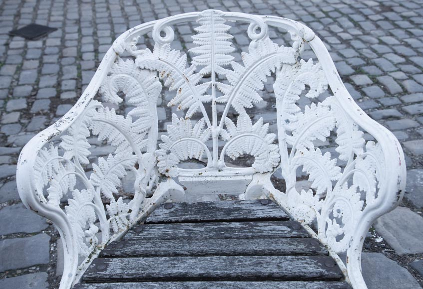 Antique garden furniture, made of cast iron with plant decoration-3