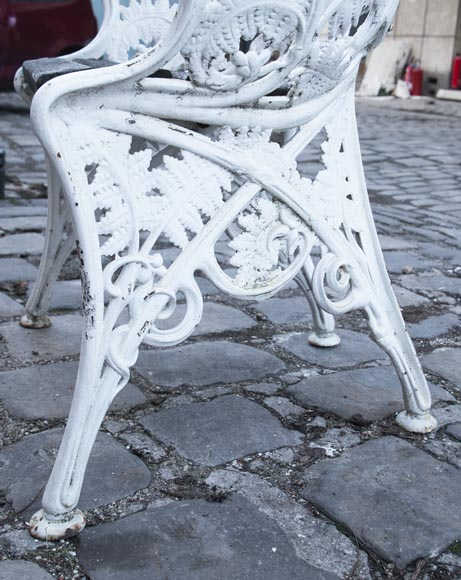 Antique garden furniture, made of cast iron with plant decoration-4