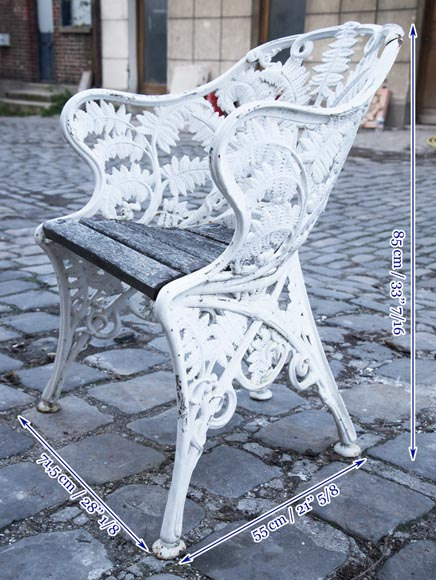 Antique garden furniture, made of cast iron with plant decoration-5