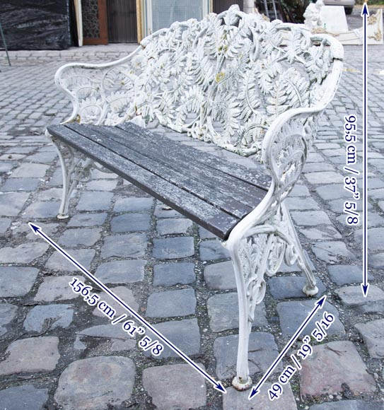 Antique garden furniture, made of cast iron with plant decoration-9