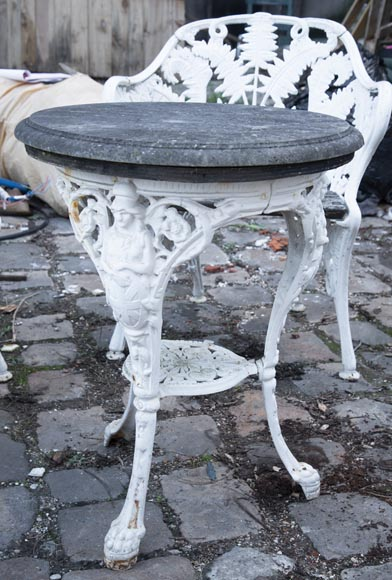 Antique garden furniture, made of cast iron with plant decoration-10