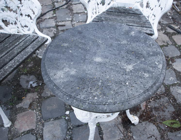 Antique garden furniture, made of cast iron with plant decoration-11