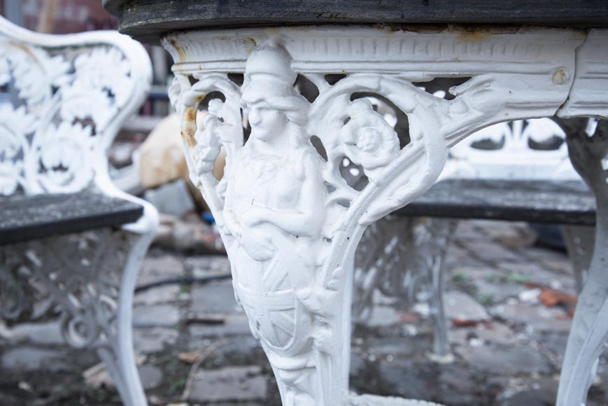 Antique garden furniture, made of cast iron with plant decoration-12