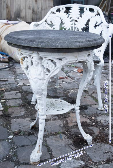 Antique garden furniture, made of cast iron with plant decoration-14