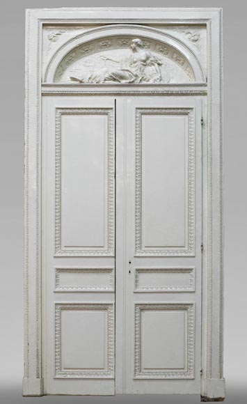 Antique Louis XVI style door with allegorical bas-relief-0