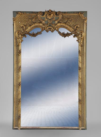 Very beautiful antique Louis XV style trumeau, rich carved decor, with its mercury mirror-0