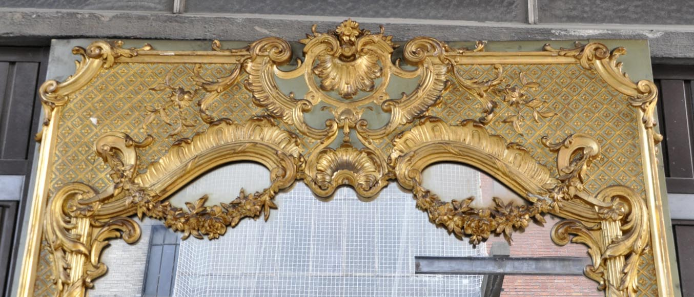 Very beautiful antique Louis XV style trumeau, rich carved decor, with its mercury mirror-1