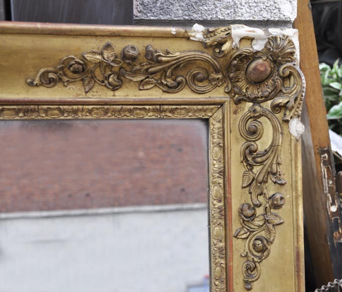 Small antique Napoleon III style overmantel mirror in gilded stucco-1