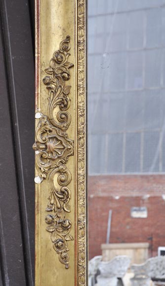 Small antique Napoleon III style overmantel mirror in gilded stucco-3