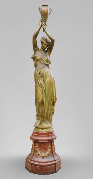 Woman with amphora, cast iron statue with bronze patina by the Durenne foundry, 19th century-0