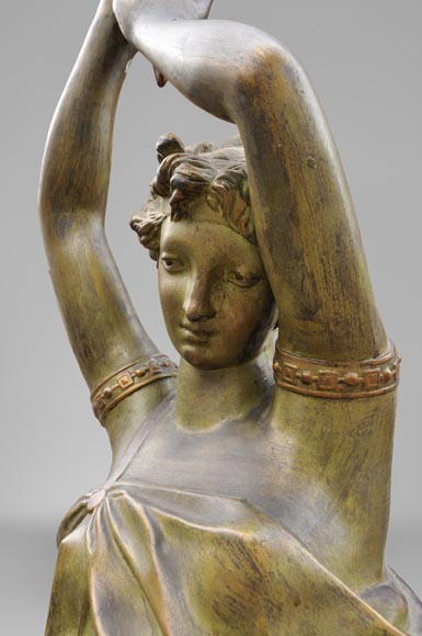 Woman with amphora, cast iron statue with bronze patina by the Durenne foundry, 19th century-2