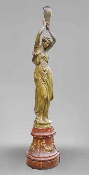 Woman with amphora, cast iron statue with bronze patina by the Durenne foundry, 19th century-3