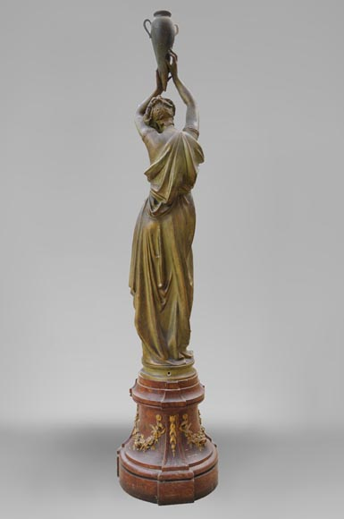 Woman with amphora, cast iron statue with bronze patina by the Durenne foundry, 19th century-5