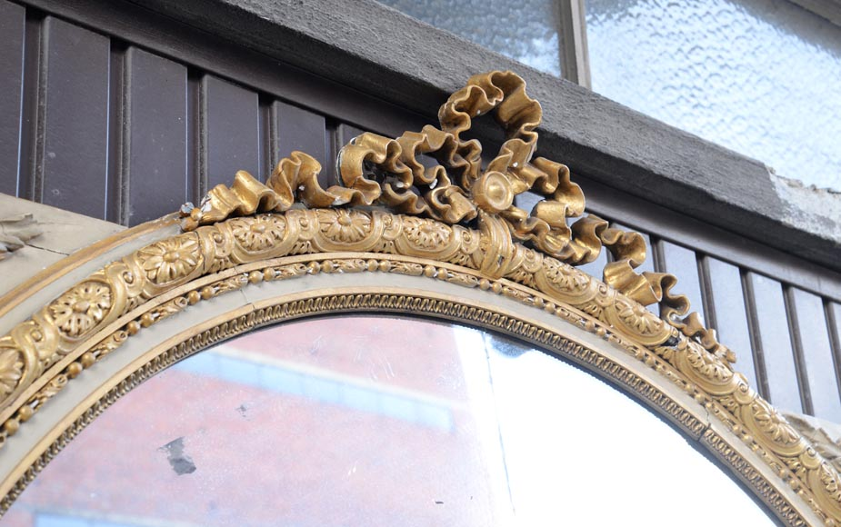 Important Louis XVI style overmantel pierglass decorated with knotted ribbons and flowers-2