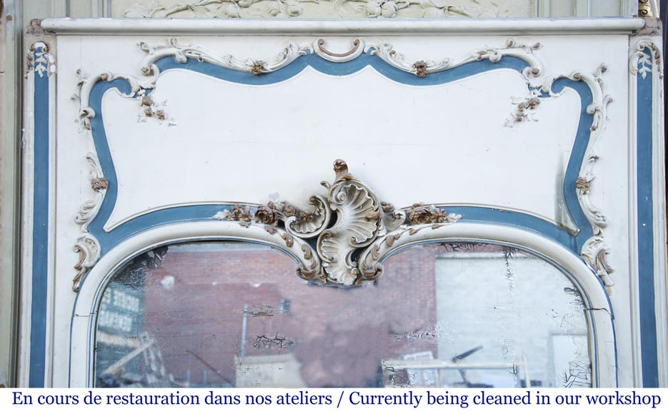 Antique Louis XV style trumeau with a pediment decorated with a beautiful shell-1