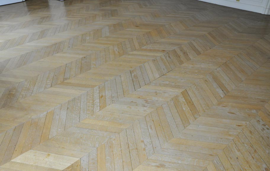 Lot of 15 m2 of antique Point de Hongrie oak parquet flooring-0