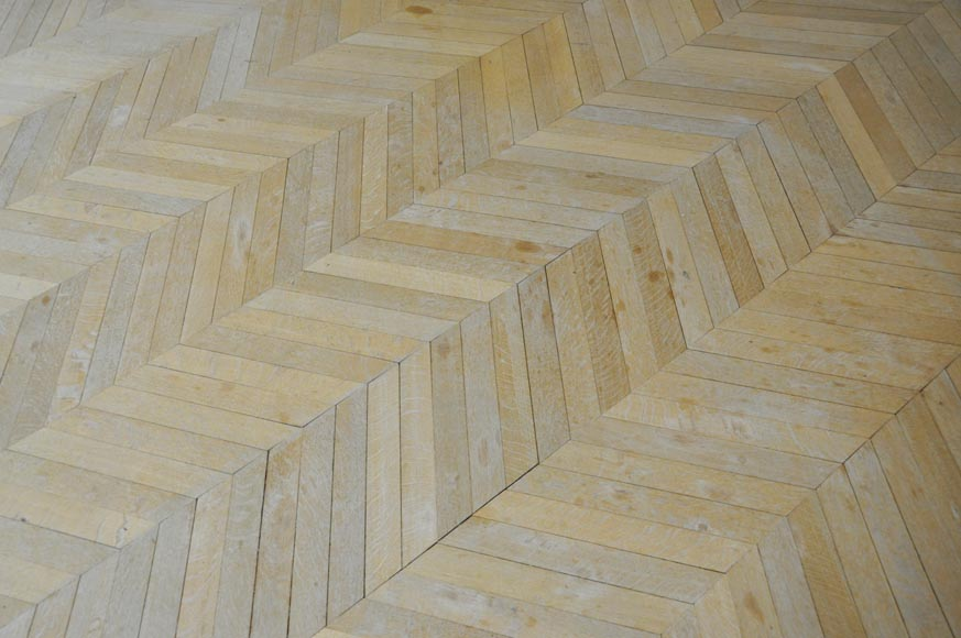 Lot of 15 m2 of antique Point de Hongrie oak parquet flooring-1