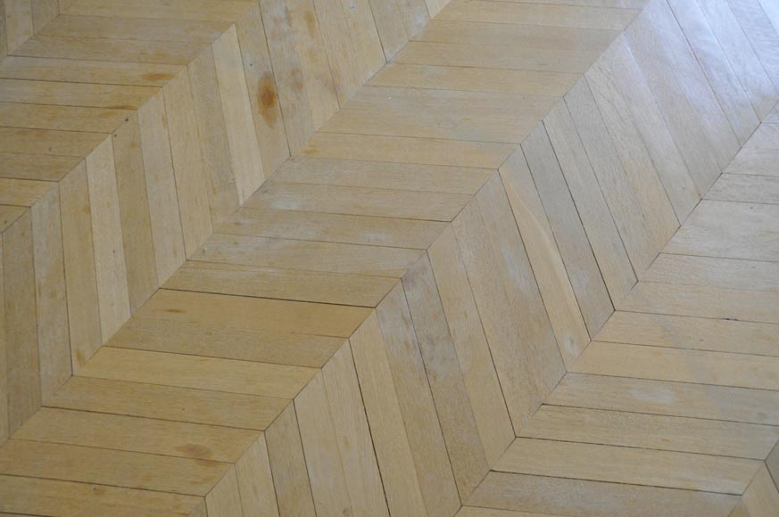 Lot of 15 m2 of antique Point de Hongrie oak parquet flooring-2