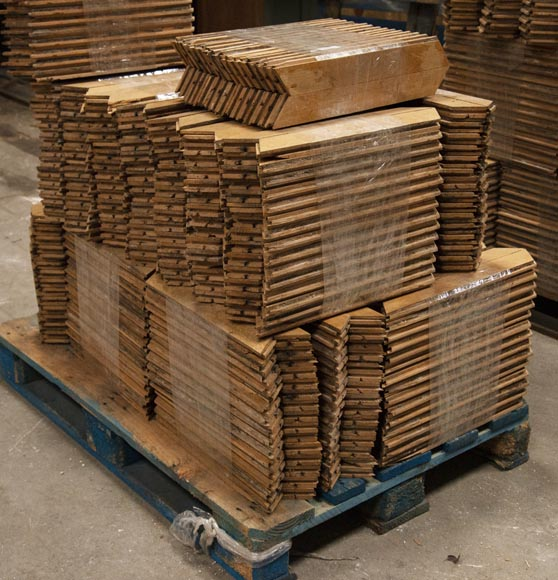 Lot of 15 m2 of antique Point de Hongrie oak parquet flooring-4
