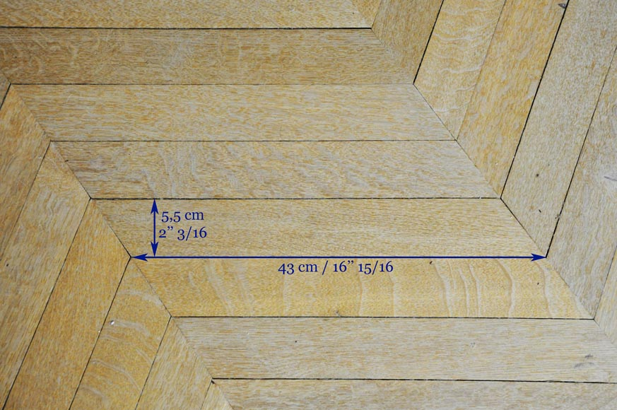 Lot of 15 m2 of antique Point de Hongrie oak parquet flooring-6