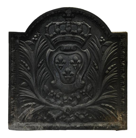 Antique cast iron fireback with French coat of arms, 19th century-0