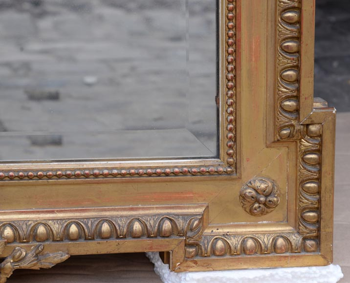 Beautiful antique Napoleon III style mirror in gilded stucco with garlands of flowers-6