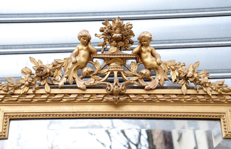 Beautiful antique Napoleon III style trumeau with putti and flowers decor in gilded stucco-1
