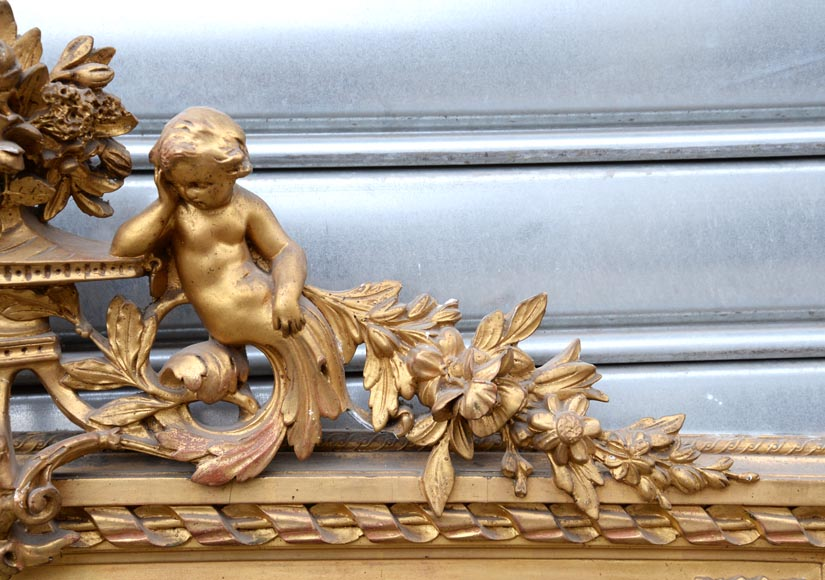 Beautiful antique Napoleon III style trumeau with putti and flowers decor in gilded stucco-3