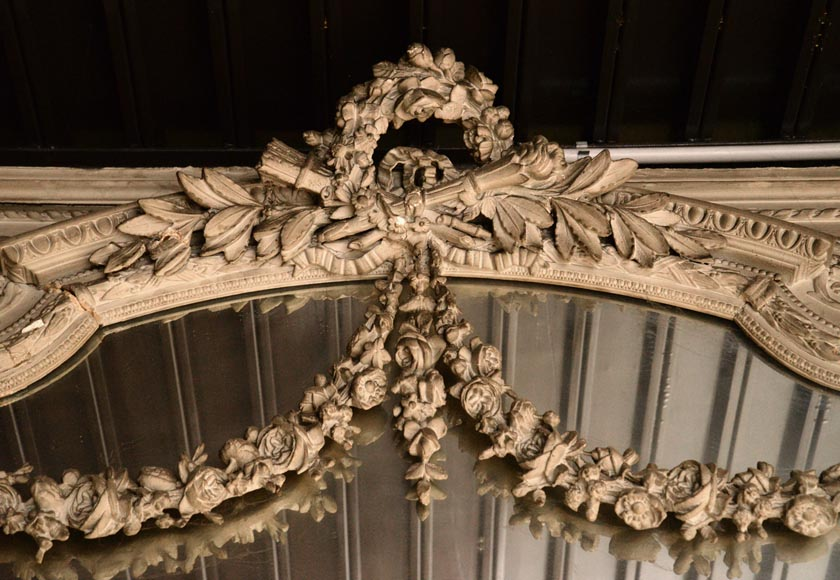Large Louis XVI style overmantel pierglass in painted stucco with garlands of flowers decor-2