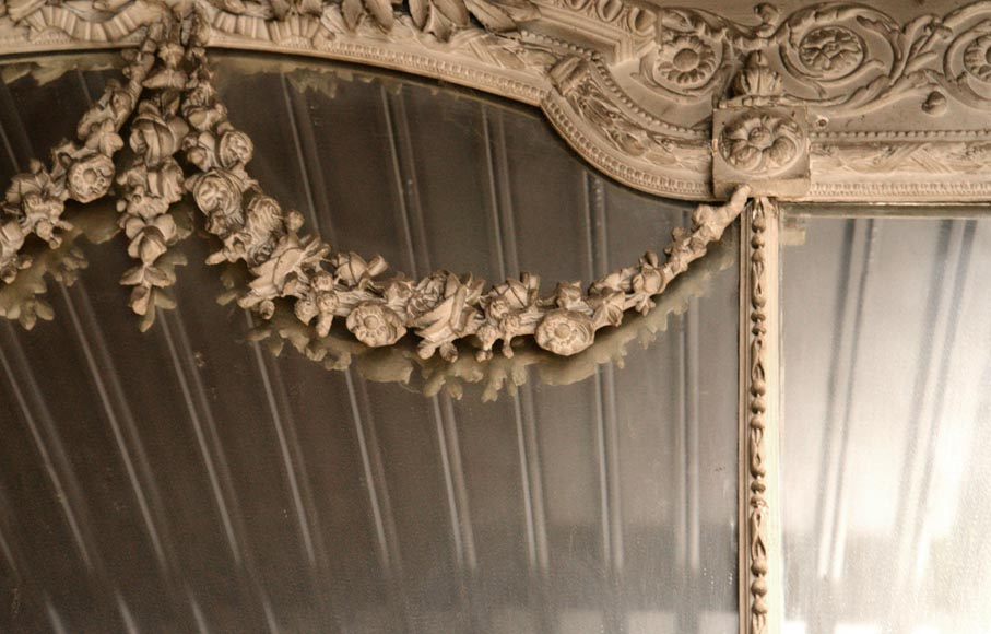 Large Louis XVI style overmantel pierglass in painted stucco with garlands of flowers decor-3