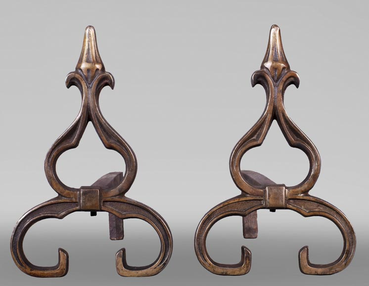 Pair of antique Neo-Gothic style andirons-0