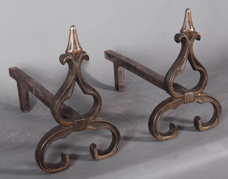 Pair of antique Neo-Gothic style andirons-2