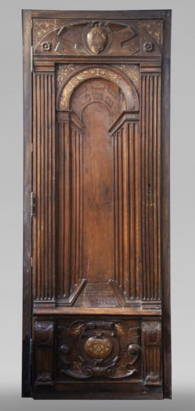 French Renaissance period walnut door with imitation ivory inlays-0