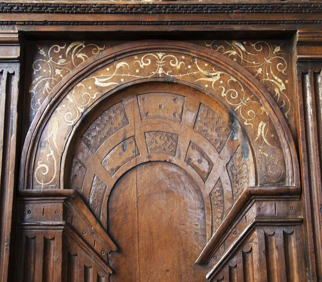 French Renaissance period walnut door with imitation ivory inlays-3