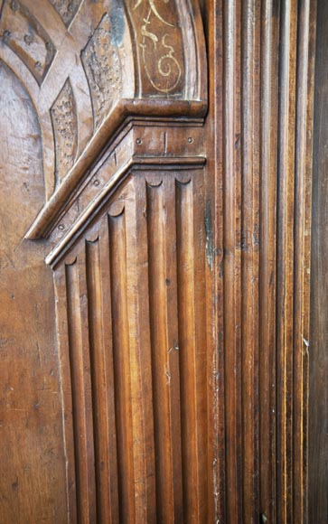 French Renaissance period walnut door with imitation ivory inlays-5