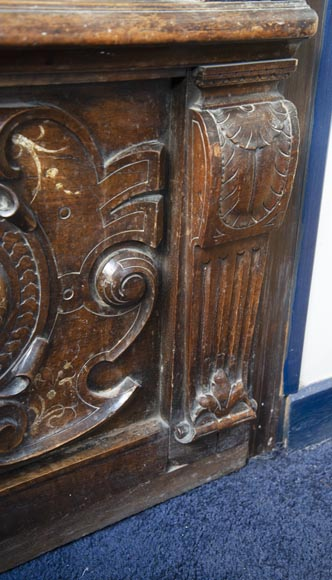 French Renaissance period walnut door with imitation ivory inlays-8
