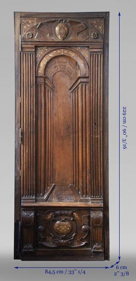 French Renaissance period walnut door with imitation ivory inlays-11