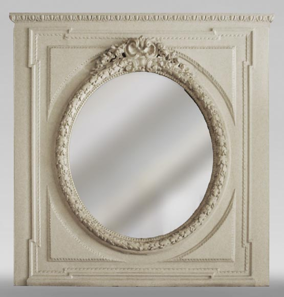 Antique Louis XVI style trumeau with oval mirror-0