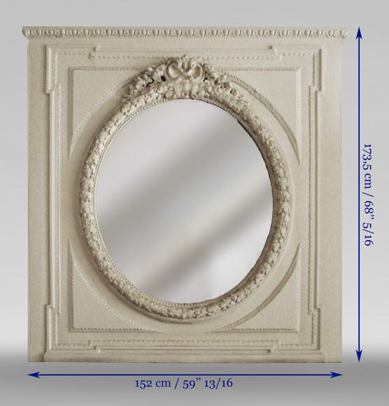 Antique Louis XVI style trumeau with oval mirror-5