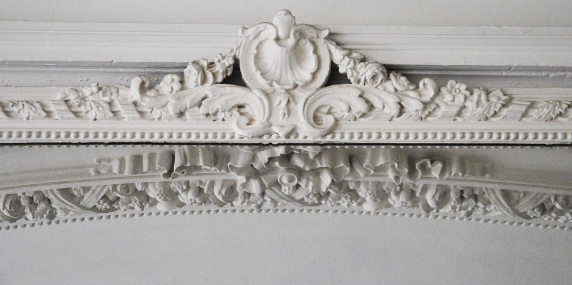 Antique Louis XV style trumeau with shell and frieze of pearls-1