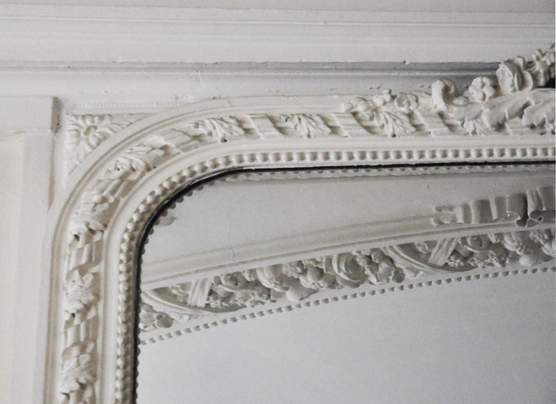 Antique Louis XV style trumeau with shell and frieze of pearls-3