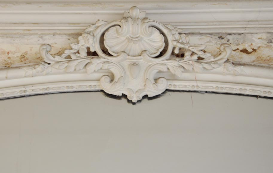 Antique Louis XV style trumeau with a pediment adorned with a shell-1