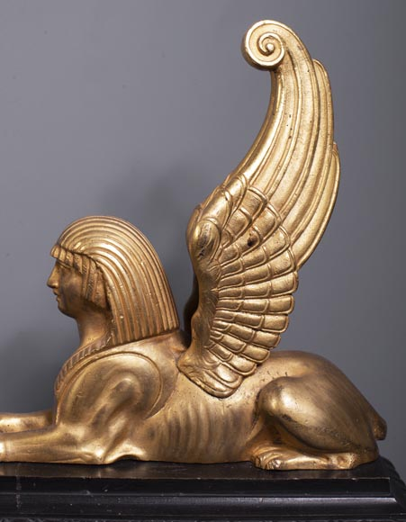 Two-patina bronze winged sphinx fire fender-8