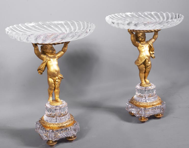 Surtout-de-table with putti in gilt bronze and Baccarat crystal-1