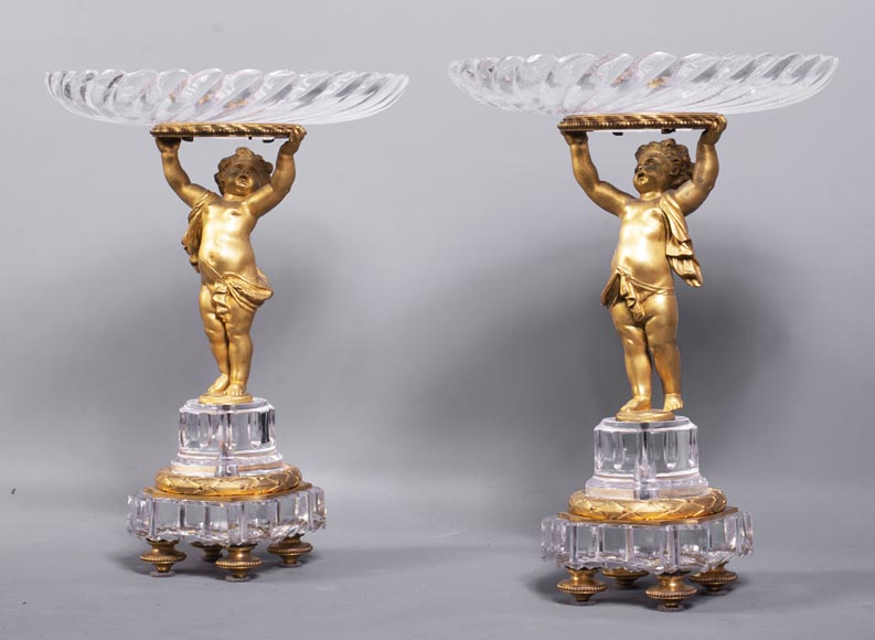 Surtout-de-table with putti in gilt bronze and Baccarat crystal-2